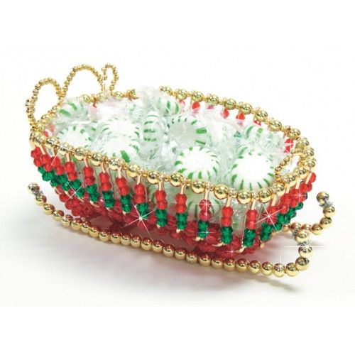 Mary Maxim - Holiday Sleigh Beaded Candy Dish Kit - This sleigh is a nice holiday decoration as well as a candy dish.