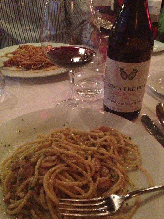 Spaghetti vongole chez Pagliaccio et #vin Aldo Conterno