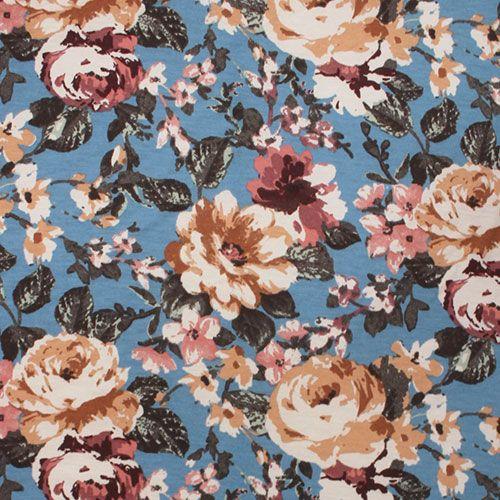 Vintage Caramel Mauve Floral On Blue Brushed Jersey Blend Knit Fabric Super Soft Brushed Texture Poly Rayon Blend Jersey Big Flowers Print Inspiration Fabric
