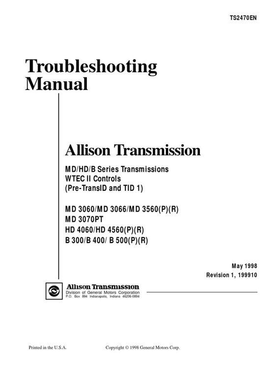 Awesome Md3060 Allison Transmission Wiring Diagram In 2020 Transmission Trailer Wiring Diagram Wire