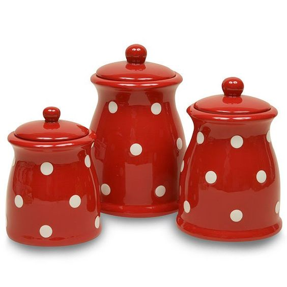 Red Ceramic Canisters Sets Small Canister Red Base With White Dots Ceramic More Details
