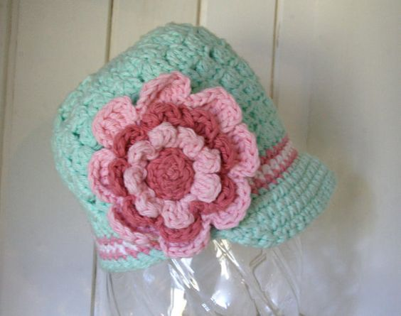 Beanie with brim and Flower by cottoncorner on Etsy.com