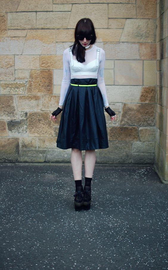 ASOS Revive leather bra, AA sheer white dress, Primark skirt, and Burberry Prorsum shoes.