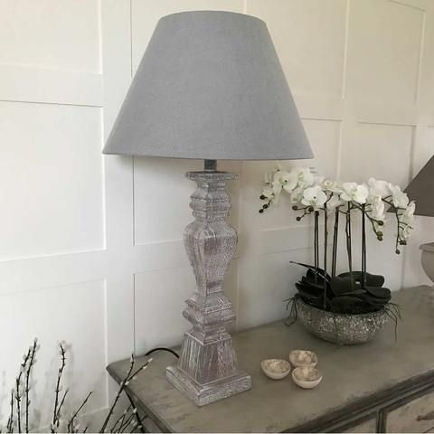 Tall Grey Wash Elegant Wooden Table Lamp With Grey Shade Table Lamp Lamp Wooden Table Lamps