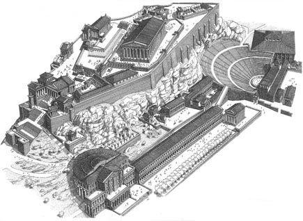 Disegno dell'acropoli di Atene e degli edifici situati nella parte ad essa sottostante: da sinistra, l'Odeon di Erode Attico e il Teatro di Dioniso.