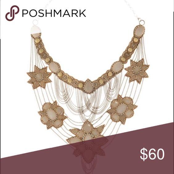 Deepa Gurnani Blush Bib Necklace (Retail  $325) Gorgeous Blush Stones Connected with Layered Silver Deepa Gurnani Jewelry Necklaces