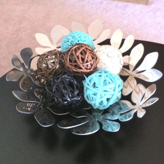 Black Decorative Balls For Bowls: Decor, Magazine Bowl And Turquoise On Pinterest
