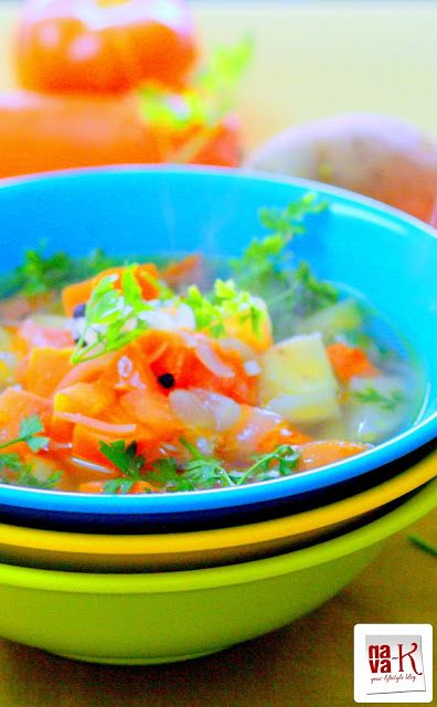 Potato Carrot Vegetable Soup Clear buttery soup containing pieces of ...