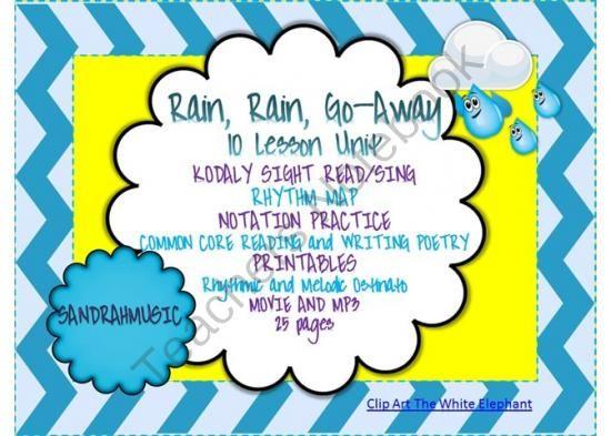 "Rain Rain Go Away Coloring Page: KODALY SONG ""Rain, Rain, Go Away"" 10 Lessons Melody Rhythm"