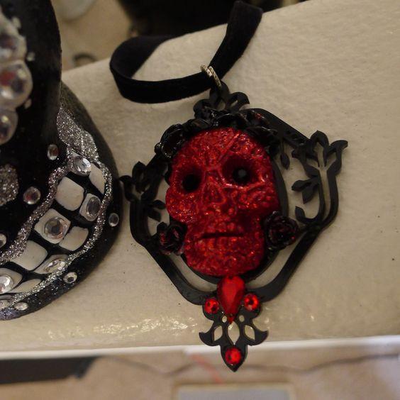 Beautiful UNIQUE Dia de los Muertos Engraved Skull Choker , OOAK !!! by princessmadisonparis on Etsy