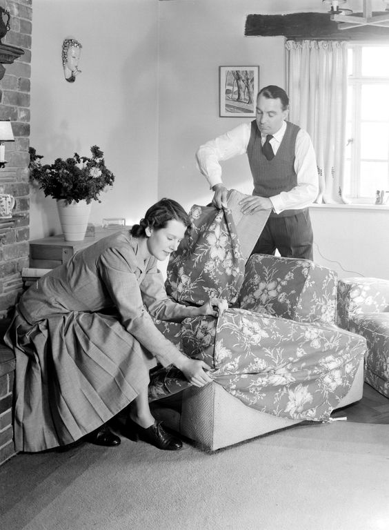 1949 Couples get in the act of slipcovering to give a fresh feel to their current pieces in this thrift-minded year