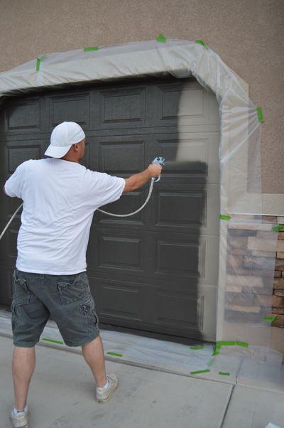 How to paint a garage door home exterior interior for Garage door stain colors
