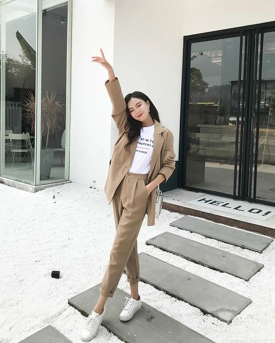 Casual Solid Pant Suits Notched Collar Blazer Jacket & Pencil Pant Kha – Creationsg