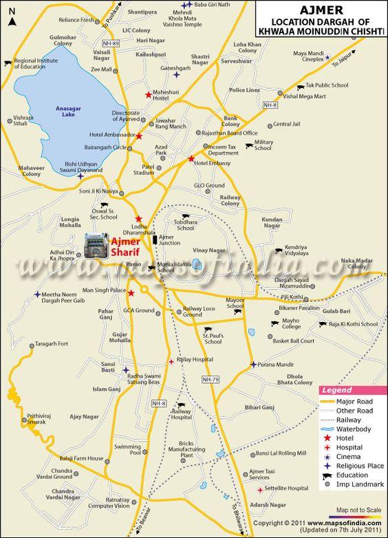 Ajmer Sharif Dargah Location Map Historical Monuments - Pir mahal map