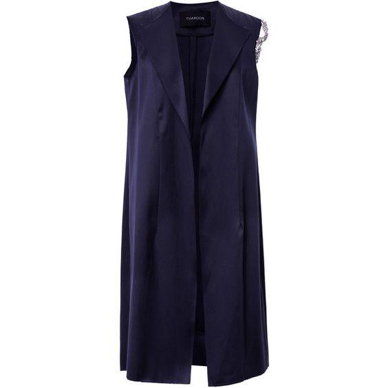 Thakoon Doubleface Satin Vest (13.545 RON) ❤ liked on Polyvore featuring outerwear, vests, lapel vest, satin vest, blue vest, thakoon and blue waistcoat