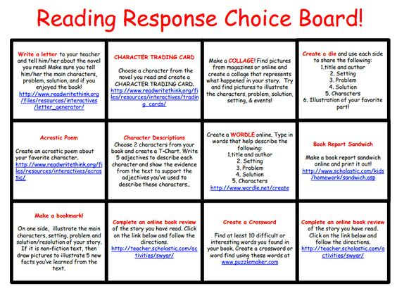 Love this ... Free Reading Response Choice Board. Each choice has a clickable link to an online resource. Awesome :)
