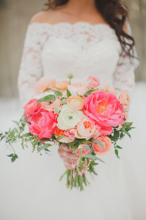 44 Fresh Peony Wedding Bouquet Ideas | Coral peonies, Garden roses ...