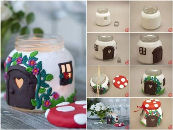 DIY Jar Mushroom House Find Fun Art Projects To Do At Home And Arts Cra