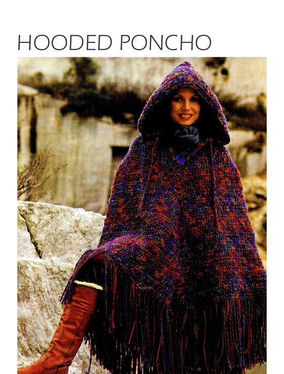 "Vintage 70's Crochet ""HOODED"" Poncho - PDF Pattern by KinsieWoolShop on Etsy"