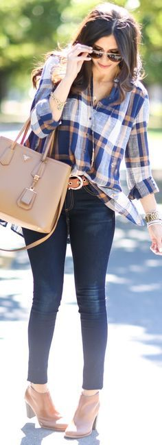 Plaid w/Ruffle Detail  Try pairing my blue checkered flannel shirt with my brown booties and brown belt.