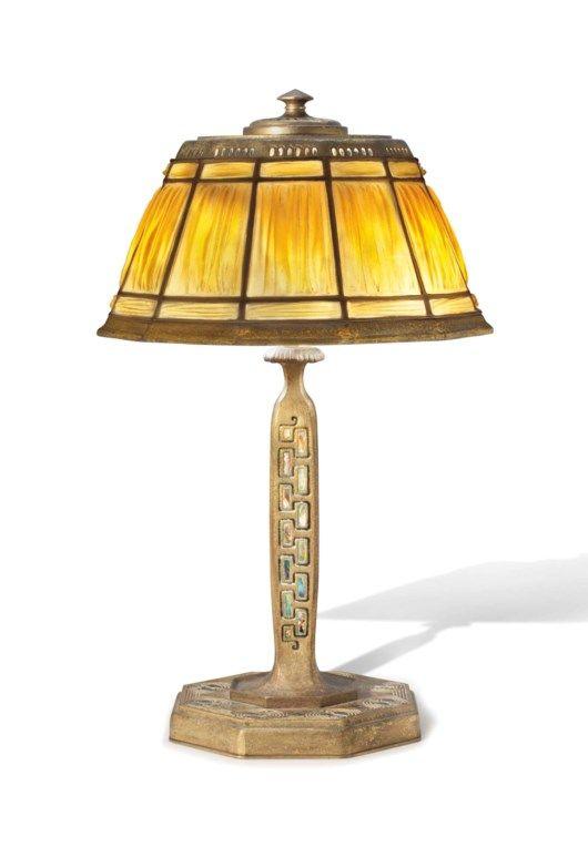 Tiffany Studios A Linenfold Desk Lamp In The Abalone Pattern