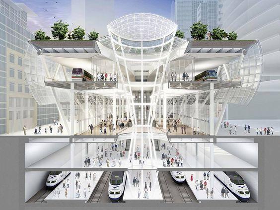 Transbay Transit Center,  projeto de Pelli Architects, Adamson Associates e Peter Walker Partners, que está sendo construído em São Francisco, nos Estados Unidos: sensores captam movimentação de terra na área de influência da obra
