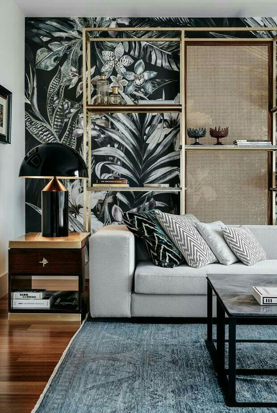Tropical living room with botanical wall decor