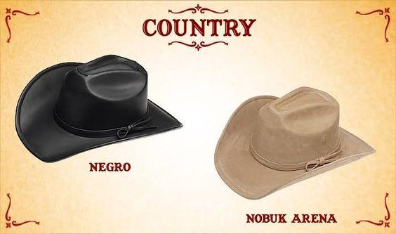 #Sombreros modelo country, negro y nobuk