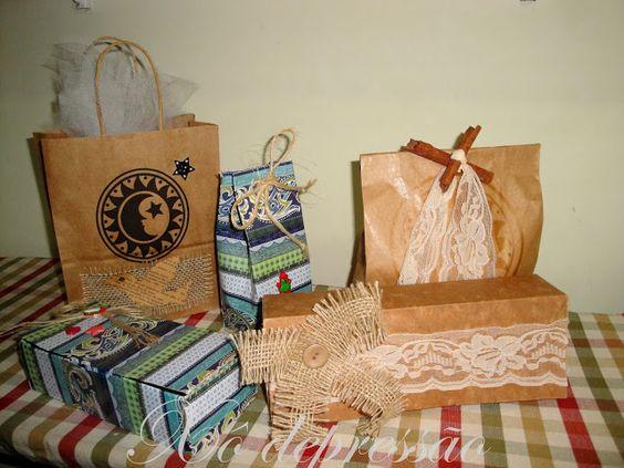 *Xô depressão* embalagens recicladas para os presentes