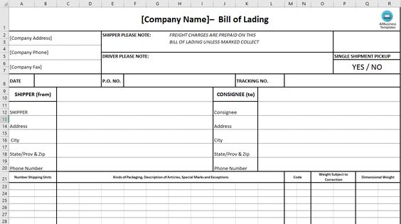 Bill of Lading - Download this Bill of Lading to ensure safe - blank bol form