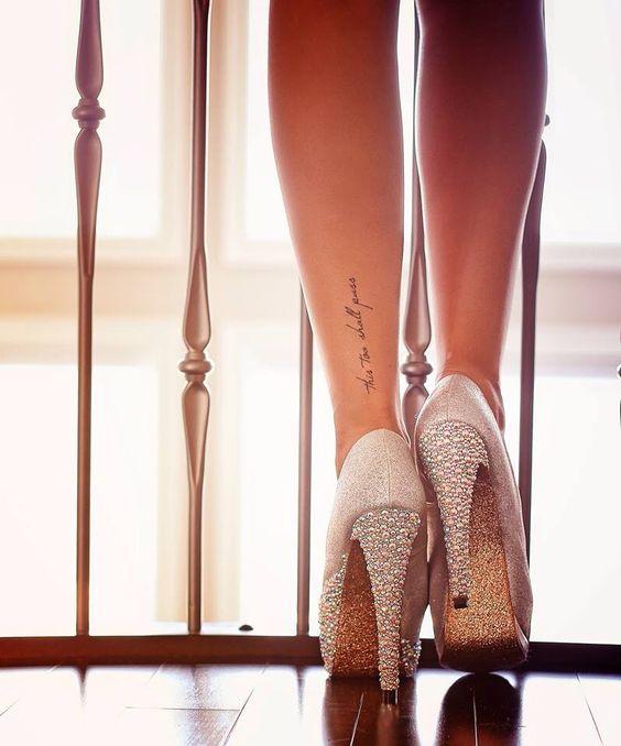 Behind leg..