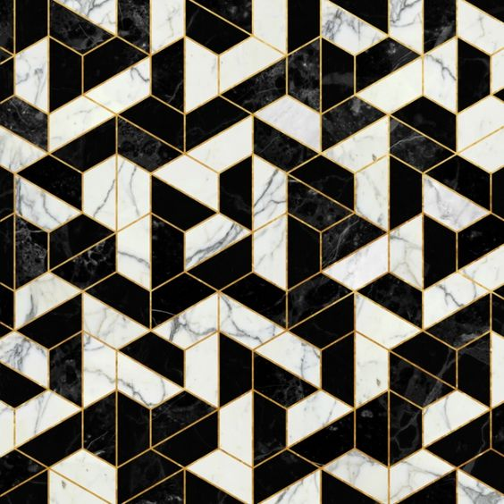 Black and White Marble Hexagonal Pattern Art Print by Santo Sagese: