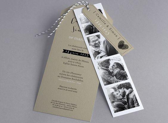 Faire-part de mariage Vintage, Pop, Blanc, Personnages. Faire-part-creatif.com