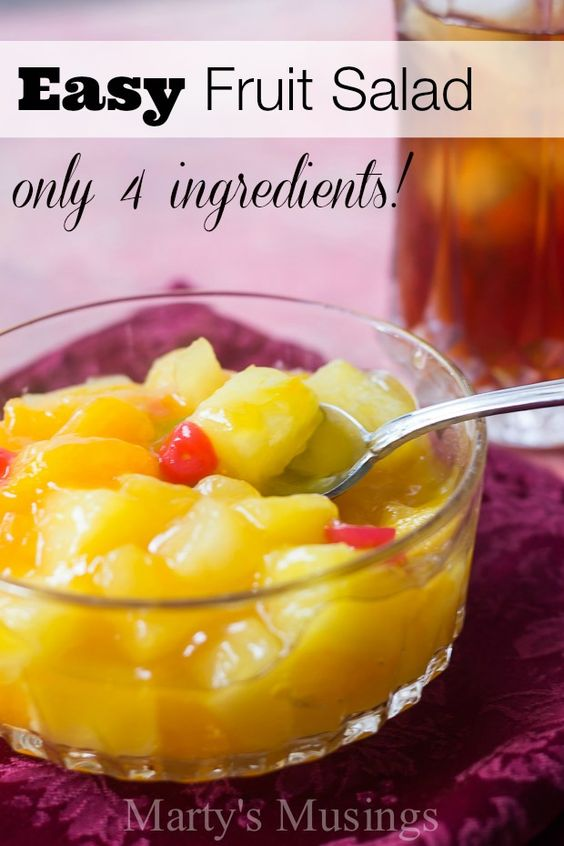 This easy fruit salad uses only 4 ingredients including canned fruit and vanilla pudding for a recipe that will become a family favorite!