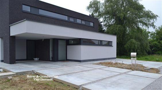 Garageneinfahrt Am Hang. oprit in beton beton- \\ grondwerken van ...