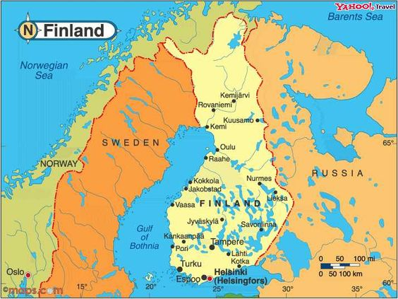 Finland is a Nordic country in Northern Europe bordered by Sweden – Map of North European Countries
