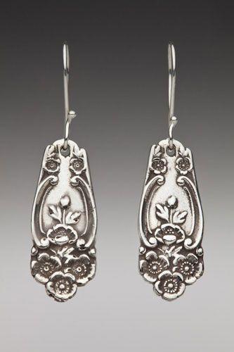 Silver Spoon Jewelry: Vintage Spoon and Fork Jewelry: Lady Helen Demitasse Spoon Earrings: