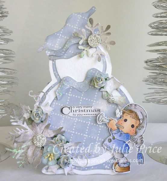 Shape EZ snowman template, Magnolia DP and Tilda With Trumpet   - snowman template
