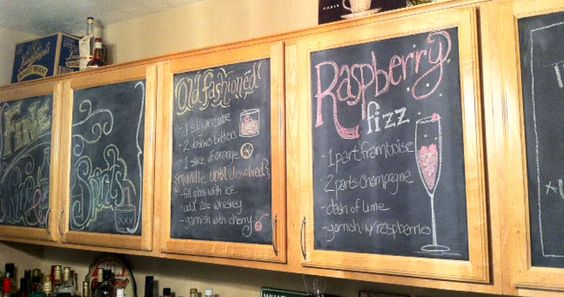 Chalkboard painted cabinets used as drink menus. Fabulously fun party idea! #StitchCake #DIY