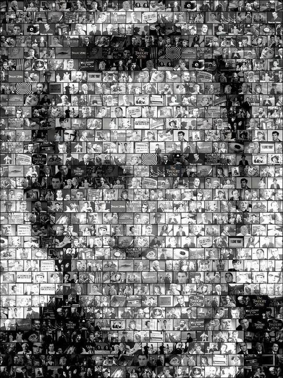 Mosaic of Serling created with images from different episodes.