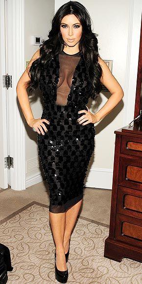 Who made Kim Kardashian&-39-s black sequin dress and pumps that she ...