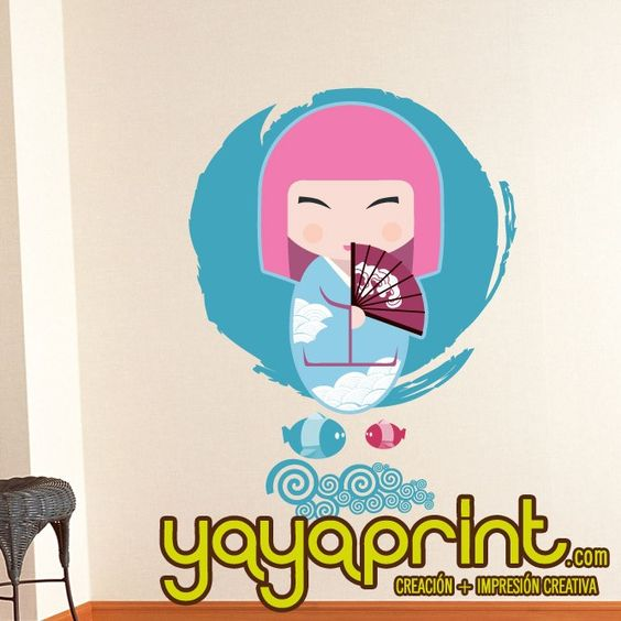 Muñecas japonesas vinilo decorativo pared. Yayaprint.com