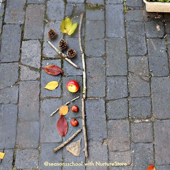 Forest school symmetry activity using loose parts - NurtureStore