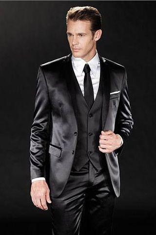 Black Shiny 2-Button Vested Flat Front Pants 3-Piece Tuxedo Suit w