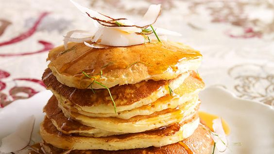 Buttermilk pancakes with fresh coconut and kaffir lime maple syrup recipe : SBS Food