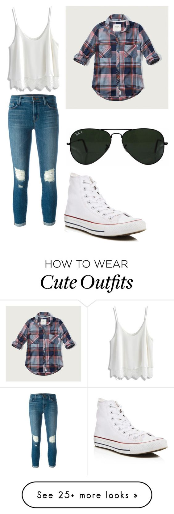 """""""Cute outfit..... The flannel would go over the white t-shirt"""" by wyntersmail on Polyvore featuring Ray-Ban, J Brand, Chicwish, Converse and Abercrombie & Fitch"""