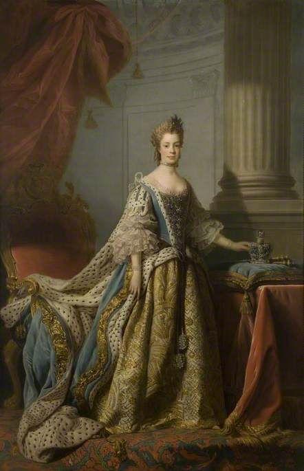 """Charlotte Sophia of Mecklenburg Strelitz, Queen Consort of George III"", Allan Ramsay, ca. 1761; Huntingdon Town Council via BBC Your Paintings."