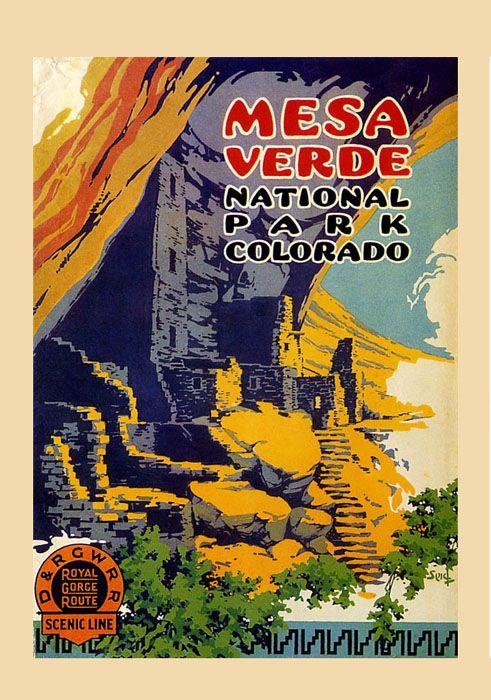 vintage national park poster | Mesa Verde National Park Montezuma Colorado Travel Vintage Poster ...