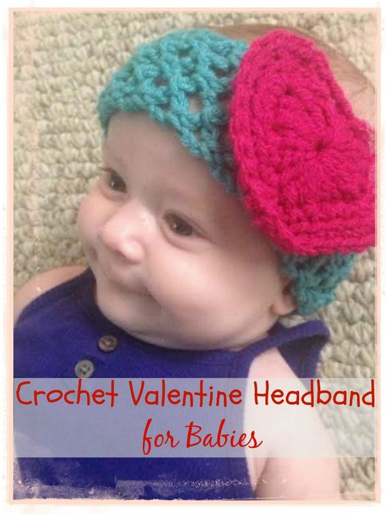 Free pattern to crochet Valentine headband. Works up easy and really quick and looks so cute!