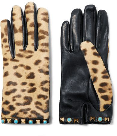 Valentino - Embellished Leopard-print Calf Hair And Leather Gloves - Leopard print